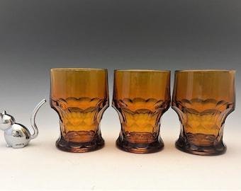 Set of 3 Stunning Amber Georgian Tumblers  - Hocking Glass