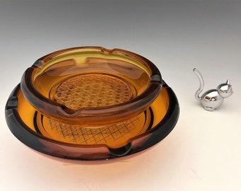 Set of 2 Amber Glass Ashtrays - Crosshatch Design