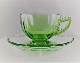 Set of Two Green Depression Glass Cups and Saucers - New Martinsville - Uranium Glass - Four Pieces