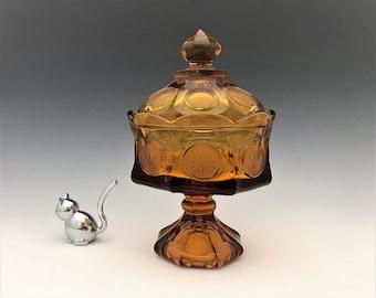 Stunning Fostoria Coin Amber Glass Wedding Box With Lid