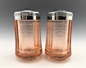Indiana Glass Recollection Pink Salt and Pepper Shakers - Madrid Pattern Reissue