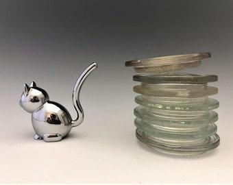 Collection of 7 Mason Jar Glass Inserts - Jeannette - Presto - Ball - Clear Vu