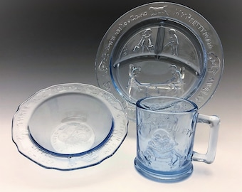 Indiana Glass Nursery Rhymes Divided Plate, Bowl  and Mug - Light Blue Glass - Tiara Exclusives