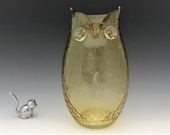 Glass Owl Vase - Amber Glass Owl Figurine - Tall Glass Owl - Home Decor