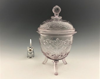 EAPG Covered Sugar Bowl - Richards and Hartley Glass - May Flower Pattern (OMN) - Lily of the Valley - Early American Pattern Glass - 1870's
