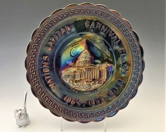 Imperial Glass - Iridescent Carnival Glass Souvenir Plate - Washington D.C. Carnival Glass Club - Amethyst Glass