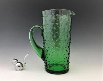 Green Glass Hobnail Pitcher