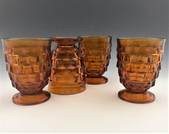 Set of 4 Indiana Whitehall Amber Footed Tumblers - Cubist Pattern #521 - 10 Ounce glasses