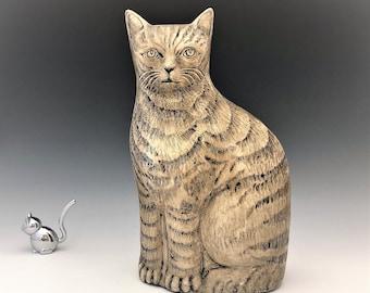 Ceramic Cat Statue - Ceramic Tan Striped Cat Figurine