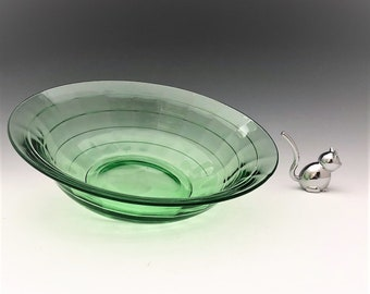 Paden City Regina - Uranium Glass Bowl - Large Depression Era Serving Bowl - Block Optic Pattern