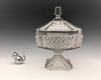 EAPG Covered Compote - George Duncan and Sons No. 800 (OMN) - AKA Heavy Paneled Finecut - Early American Pattern Glass - Circa 1883