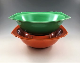 Set of 2 Homer Laughlin Riviera Bowls - 8 Inch Vegetable Bowls - Vintage Fiestaware Bowls - Orange and Green Bowls