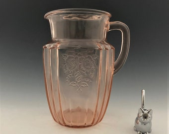 Pink Depression Glass Pitcher - Hocking Mayfair Pink - Open Rose Pattern
