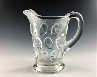 EAPG Creamer - Beaver Falls Glass Company - Beaver Falls (OMN) - AKA Egg In Sand - Early American Pattern Glass - Circa 1888
