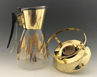 Mid-Century 12-Cup Carafe and Warmer - Serv-master Creations - Gold Toned With Wheat Motif - MCM Decor