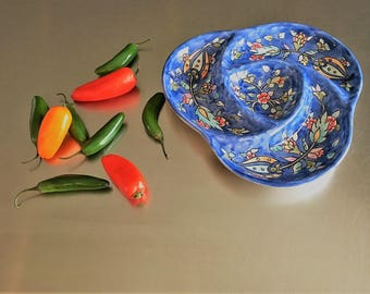 Vintage Israeli Ceramic Serving Plate or Dish - Blue Floral Pattern - Hand Painted in Jerusalem - Platter or Tray