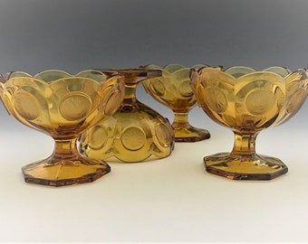 Set of 4 Fostoria Coin Glass Amber Open Jam/Jelly Cup or Bowl