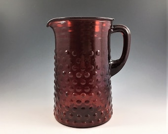Hard to Find Vintage Anchor Hocking Ruby Red Glass Pitcher - Hobnail Ruby Pattern - 60 Ounce Pitcher