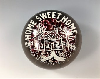 Millville Frit Art Glass Paperweight - Home Sweet Home - Circa 1900's