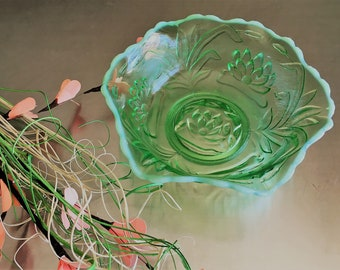 Antique Fenton Green Glass Bowl - Waterlily and Cattail Pattern - Vintage Uranium Glass