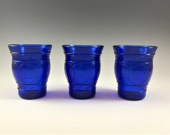 Set of Three Depression Glass Cordials - Ring of Rings Pattern - Hard to Find Cobalt Blue Glasses - Hazel Atlas Cordials
