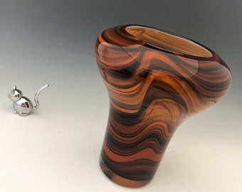 Luscious Caramel Swirl Glass Vase - Waves of Brown and Tan - Mushroom Shaped Vase
