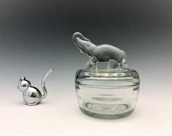 Jeannette Glass Elephant With Upraised Trunk Puff Jar - Glass Powder Jar