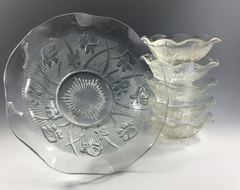 Set of 6 Jeannette Iris Glass Bowls - Iris and Herringbone - Salad Bowl and 5 Sauce Bowls/Dishes