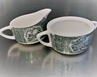Old Curiosity Shop - Vintage Creamer and Sugar Bowl - Discontinued Charles Dickens Collection – Green