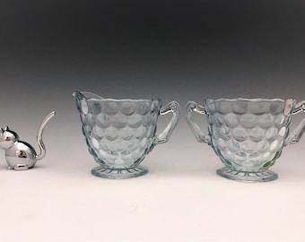 Anchor Hocking Bubble Blue Breakfast Set - Creamer and Sugar Bowl - 1942-48