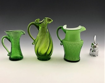 Collection of 3 Uranium Glass Creamers - Three Cream Pitchers - Green Art Glass Pitchers - Glowing Green Glass