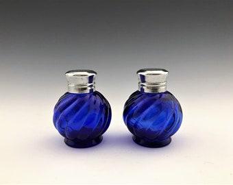 Diminutive Cobalt Salt and Pepper Shakers - Vintage Blue Glass Shakers