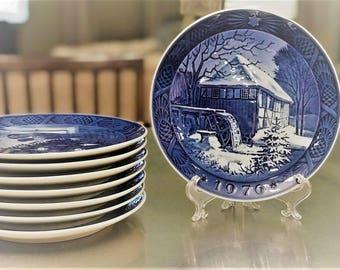 Royal Copenhagen Christmas Plate - 1976 - Vibaek Water Mill