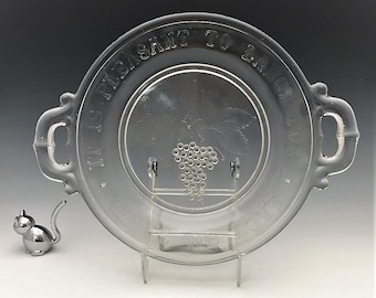 EAPG Handled Plate - McKee and Bros - Pie Plate (OMN) - Pleasant to Labor for Those We Love  - Early American Pattern Glass - Circa 1880's