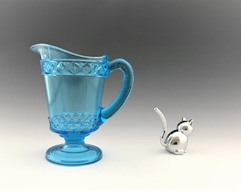 EAPG Blue Spirea Band Cream Pitcher - Bryce, Higbee and Co Glass - Earl (OMN) - Square and Dot - Squared Dot - Circa 1885 - Victorian Era