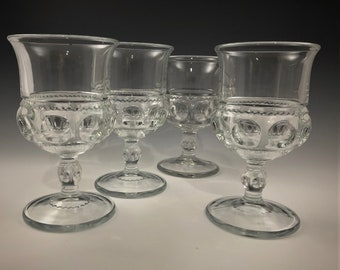 Set of 4 King's Crown Goblets - Thumbprint Water Glasses - Indiana Glass