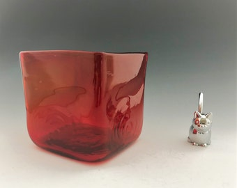 Red Blown Glass Cube - Red Glass Candle Holder - Red Glass Flower Vase