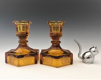 Fostoria Coin Glass Amber - Set of Two Single Light Candlesticks