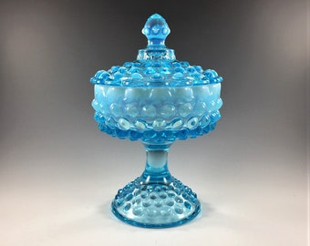 Fenton Blue Opalescent Hobnail Footed Covered Comport (#3887) - Wedding Box - Candy Dish