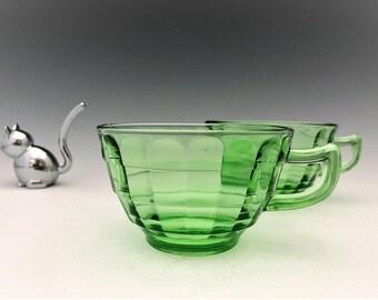 Hocking Glass Block Optic Pattern - Set of 2 Cups - Green Depression Glass - Glowing Uranium Glass
