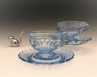 Cambridge Glass Caprice Pattern - Moonlight Blue Cups and Saucers - 2 Sets - Elegant Depression Era Glass