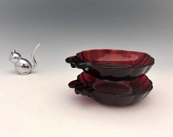 Anchor Hocking Royal Ruby Ashtrays - Set of Two Leaf Shaped Ashtrays - Grape Leaf Ashtray