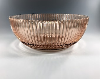 Pink Depression Glass - Hocking Queen Mary Pink - Large Fruit Bowl - Vertical Ribs