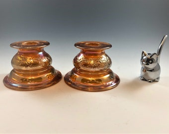 Set of 2 Federal Glass Madrid Pattern Candle Holders - Iridescent Carnival Glass Candlestick Holders