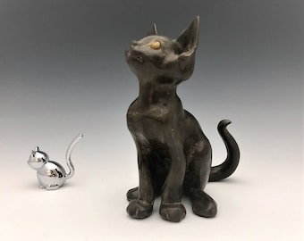 Freeman and McFarlin Pottery - Black Cat Figurine - Vintage Cat Statue