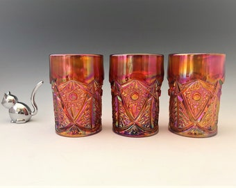 L.E. Smith Red Carnival Glass Tumblers - Iridescent Glass - Hobstar Variant - Set of 3 - Hard to Find