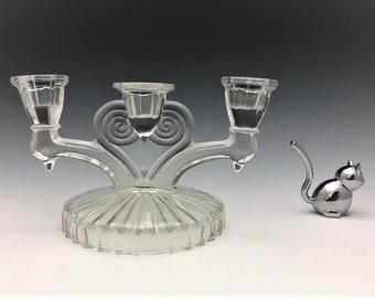 Jeannette Glass Cosmos Pattern Three-Light Candelabrum (c. 1945) - Elegant Glass Candlestick Holder