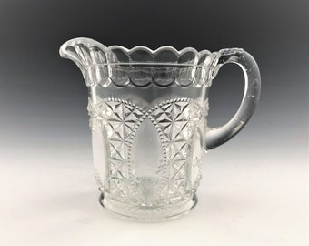 EAPG Creamer - U.S. Glass Company No. 15073 Oregon Pattern (OMN) - AKA Beaded Loop - Early American Pattern Glass - Circa 1901