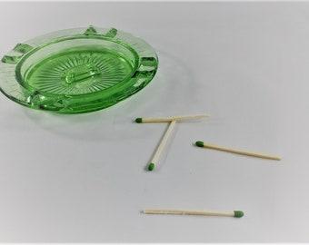 Vintage Hazel Atlas Green Glass Checkerboard Ashtray With Match Holder - Uranium Glass Ashtray