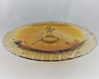 Vintage Aztec Carnival Glass 3 Toed Plate - Lancaster Glass - Etched Deco Pattern - Casper Cutting - Depression Era Glass